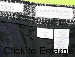 Liz Claiborne sz 14P Petite Womens Pleated Full Skirt Black Gray Plaid
