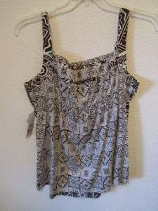 NWT Tommy Hilfiger misses top shirt blouse BROWN WHITE sz XL NEW $59