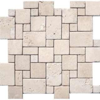 In. Ivory Mini Versaille Pattern Travertine Mosaic Floor & Wall Tile