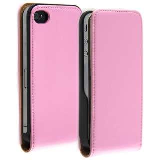 Edle iPhone 4 Leder Tasche Lederhülle Case PINK Etui