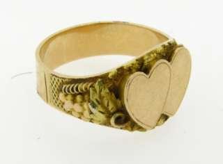Rare Antique Art Nouveau Double Heart Yellow Gold Ring