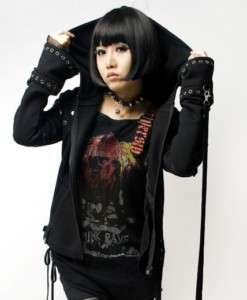visual kei punk rock fashion t shirt top gothic lolita black jacket