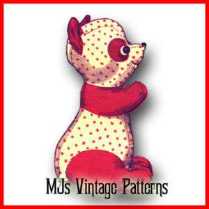 Stuffed Panda Bear (Red Panda) Vintage Pattern