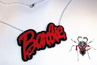 BLEED BARBIE SCENE RED ON BLK NECKLACE PENDANT SIL CHN PUNK EMO