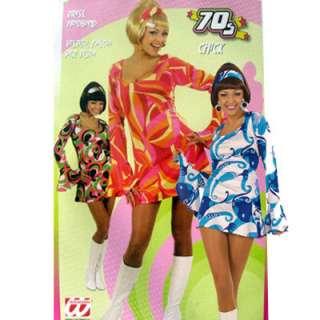 Hippie Flower Power Kostüm Kleid Hippiekleid 60er 70er Gr. S bunt