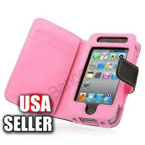 Leather Case Cover Pouch With Card Holder Wallet For iPhone 4 4S 4G