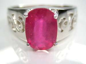 5CT NATURAL RUBY MENS STERLING 18K CLAD RING 10