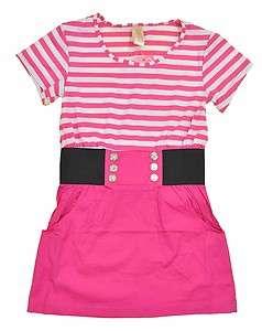 Chillipop Girls S/S Pink & White Striped Dress Size 7/8 10/12 14/16