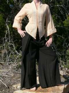 Asian Style Womens Shirt Chinese Gypsy Yoga Cream L/XL