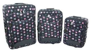 Piece Black & Pink Skull Print Luggage Set Travel Color BLACK