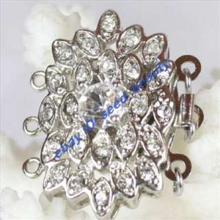Strands White Gold Plated Crystal Inlayed Clasp