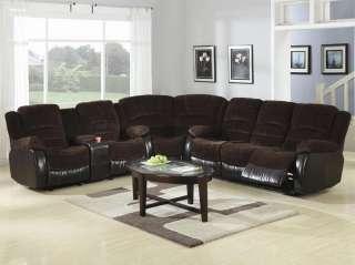 Chocolate Corduroy/Brown Leather Sectional Sofa