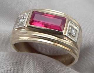 GOLD Mens 1.9ctw Lab RUBY & DIAMOND RING Gents 6.2g Size 8.25