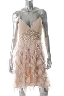 Sue Wong NEW Beige Formal Dress Pintuck Embellished 8