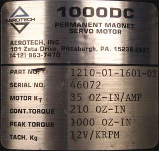 Aerotech 1000DC Permanent Magnet Servo Motor