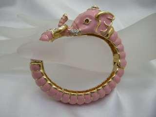 KJL KENNETH JAY LANE ROYAL *GOOD LUCK* PINK ELEPHANT ORNATE BANGLE