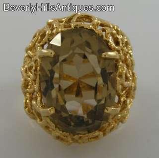 Beautiful Designer 14k Gold Smoky Quartz Ring