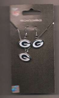 New NFL Green Bay Packers Logo Pendant Necklace & Dangle Earrings