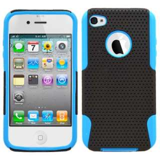 Apple Iphone 4 4s 4gs 2 in1 Hybrid Black/Blue hard case silicone cover