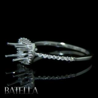 Ring With Round Brilliant Side Diamonds Engagement Ring 18K White Gold