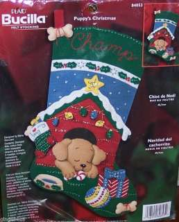 Bucilla PUPPYS CHRISTMAS Dog Felt Stocking KIT VERY RARE Completely