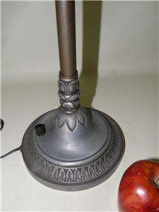 ART DECO FLAME FROSTED GLASS SHADE BANQUET STICK LAMP SIGNED M.S.L.C