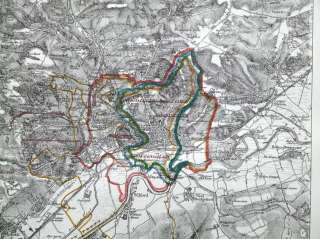NOTTINGHAM, SNEINTON, BASFORD, ARNOLD antique map 1868