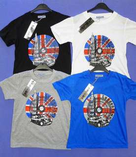 Boys Union Jack Flag London Big Ben Logo T Shirt Top 3 12 yrs NEW