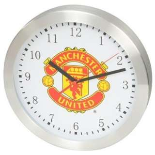MANCHESTER UNITED FOOTBALL CLUB RED DEVILS SILVER ROUND WALL CLOCK