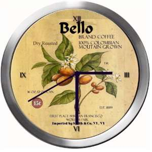BELLO 14 Inch Coffee Metal Clock Quartz Movement: Kitchen