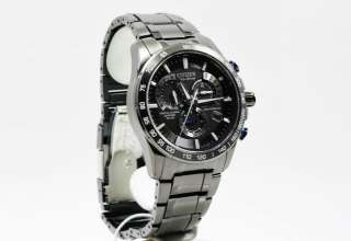Citizen Eco Drive Black Chronograph AT Mens Watch AT4007 54E NEW