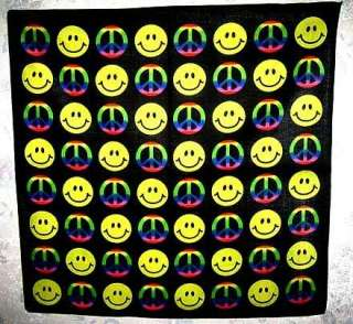 Hippy Smiley Face Peace Bandana Head Scarf Poster