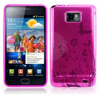 Magic Store   Hot Pink Floral Gel Case Cover For Samsung Galaxy S2
