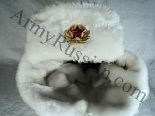 Russian Army Military White Ushanka Mad Bomber Gift Hat Red Star