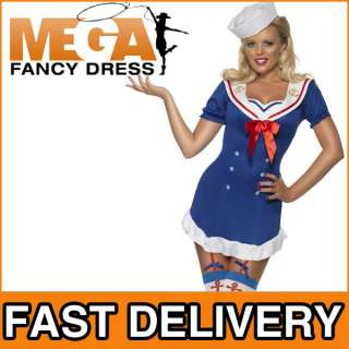 Ahoy Sailor Girl Ladies Fancy Dress Uniform Costume S,M