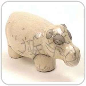 Raku Pottery   Small White Hippo 6cm   African Art