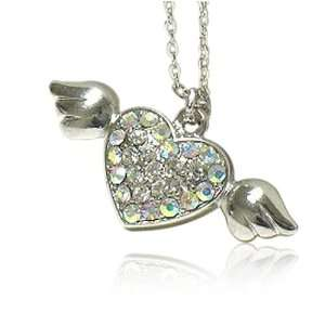 Crystal Angel Heart Pendant Necklace Fashion Jewelry Jewelry