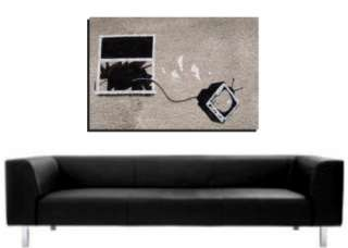 BANKSY GRAFFITI ART   DEEP FRAMED WALL ART CANVAS PRINT   TV WINDOW  4