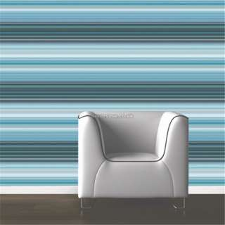 Muriva Sophia Stripe 118507 Wallpaper. Blue Black Teal Silver Feature