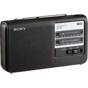 Sony ICF 38 Portable High Power AM/FM Radio, AC/DC, Built in 3 5/8in
