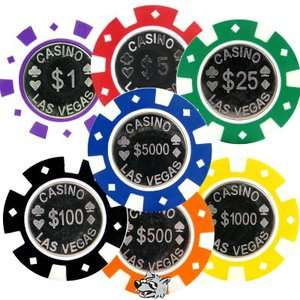 50 Casino Las Vegas COIN INLAY Poker Chips, 7 Colors