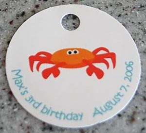 20 Custom Sea Crab Favors Gift Tags   Birthday Party
