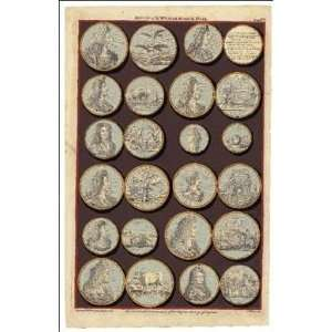 Art Poster Print   Medals Of King William III And Queen