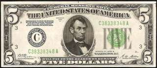 AU 1928 B $5 DOLLAR BILL LIGHT GREEN SEAL GOLD ON DEMAND FEDERAL