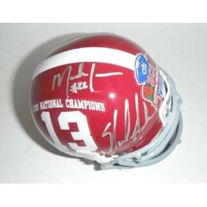 Mark Ingram Signed Helmet   Nick Saban Julio Jones