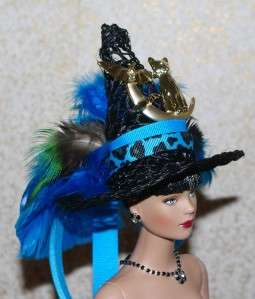 lMini Teal Salem Witch Hat Cat Bats & Moon Pin   Doll