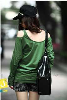 Womens Boat Neck Cold One Shoulder Batwing Loose T shirt Long Tee Top