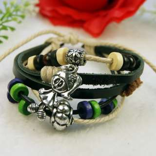 Tibetan Silver wood Hemp Girl pendant leather Bracelet