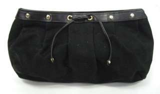 YVES SAINT LAURENT Black Canvas Studded Clutch Handbag