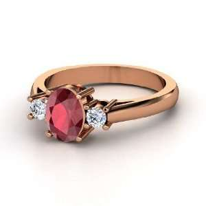 Ashley Ring, Oval Ruby 14K Rose Gold Ring with Diamond